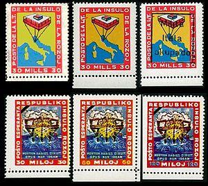 Francobolli da 3o mills, da 30, 60 e 12o miloj dell'Isola delle Rose (1968)