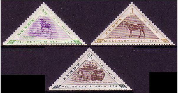 Francobolli commemorativi da mezzo, 1 e 2 Puffy del Regno di Lundy (1954)