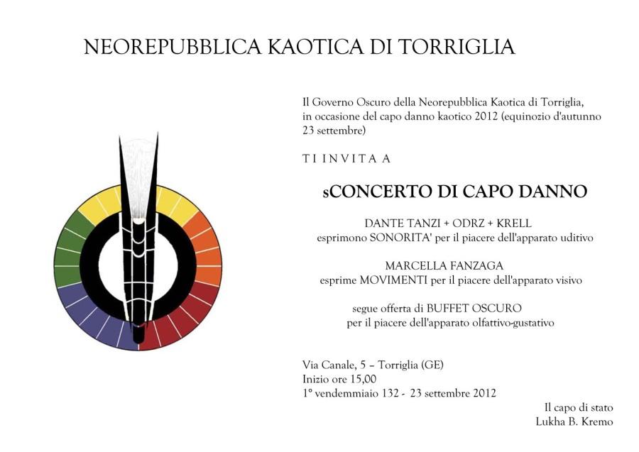Invito dello sConcerto di Capo Danno 132 della neorepubblica di Torriglia