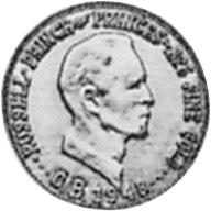 Moneta da 10 tuna del Principato di Outer Baldonia, dritto (1948)