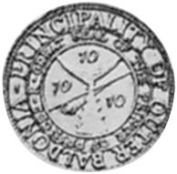 Moneta da 10 tuna del Principato di Outer Baldonia, verso (1948)