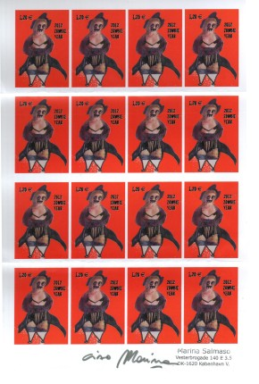 Foglio di francobollo rosso dFoglio di francobollo