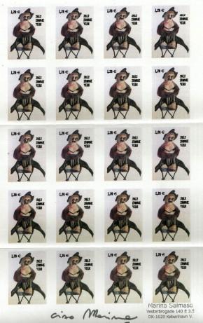 Foglio di francobollo bianco
