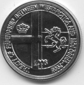 Moneta commemorativa da 50 Valora della Repubblica di Molossia (2006)