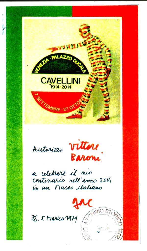 Autorizzazione alla celebrazione dell'Anniversario di Cavellini a Vittore Baroni