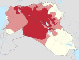 ISIS. Zone occupate (a luglio 2014) e rivendicate.