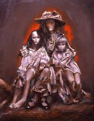 Lenka's Children di Jan Saudek (Painting)
