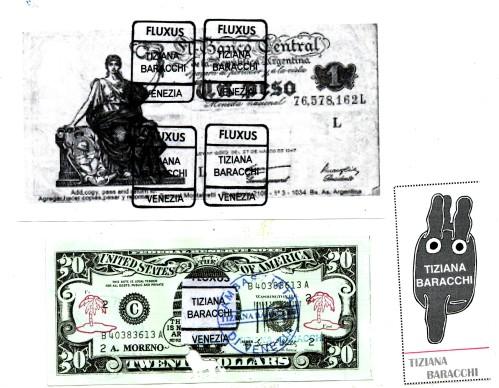 Fluxus Venezia, banconota e francobollo di Tiziana Baracchi